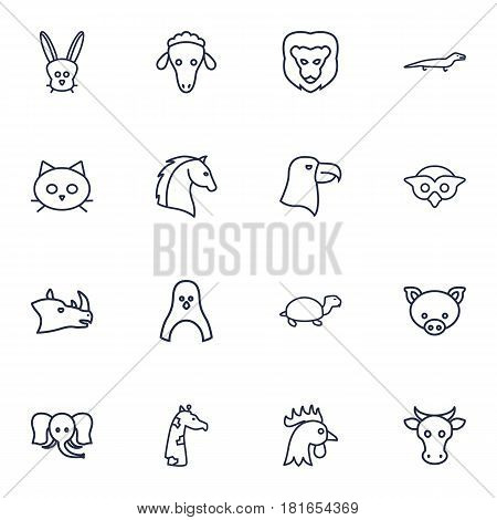 Set Of 16 Beast Outline Icons Set.Collection Of Cock, Giraffe, Rhino And Other Elements.