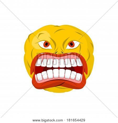 Emoticon Screams. Open Mouth And Teeth. Crazy Emoji. Emotion Yell. Yellow Ball Head