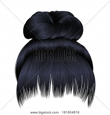 bun  hairs with fringe brunette black  dark colors . colors . women fashion beauty style .