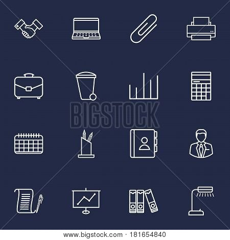 Set Of 16 Bureau Outline Icons Set.Collection Of Fastener Paper, Printing Machine, Recycle Bin And Other Elements.