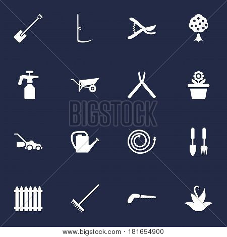 Set Of 16 Horticulture Icons Set.Collection Of Lawn Mower, Wheelbarrow, Watering Can And Other Elements.