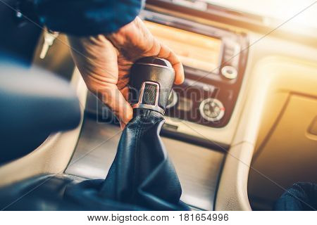 Manual Transmission Driving. Modern Car with Stick Shift Transmission.
