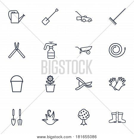 Set Of 16 Horticulture Outline Icons Set.Collection Of Barrow, Shears, Pail And Other Elements.