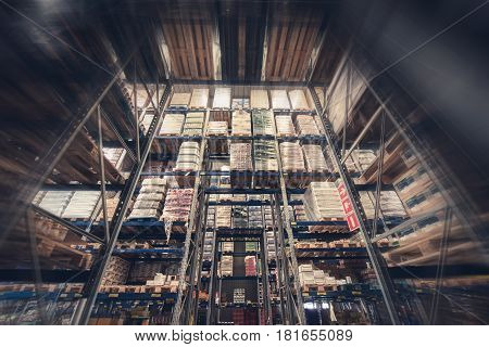 Warehouse Products Storage. Huge Food Storage Facility. Tall Warehouse Racks.