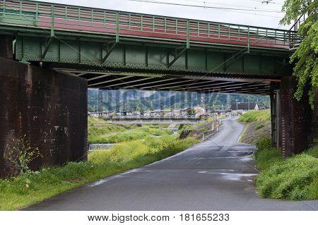 Railway bridge over Uno River in Kameoka Japan, Kyoto