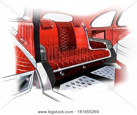 Sketch of interior design of a retro coupe car. Drawing by hand. Illustration.