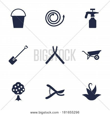 Set Of 9 Farm Icons Set.Collection Of Scissors, Spray Bootle, Bucket And Other Elements.