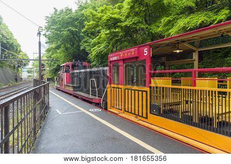 Kyoto Japan - March 2016: Romantic train stopping at Torokko Arashiyama Station