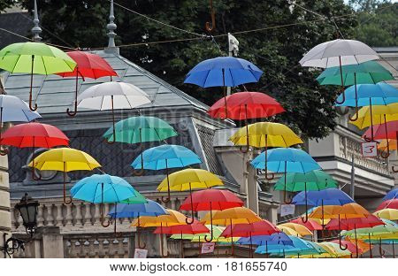 Many colored umbrellas on the street. July 8 1916 Lviv