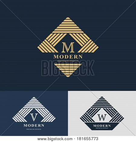 Modern logo design. Geometric linear monogram template. Letter emblem M V W. Mark of distinction. Universal business sign for brand name company business card badge. Vector illustration