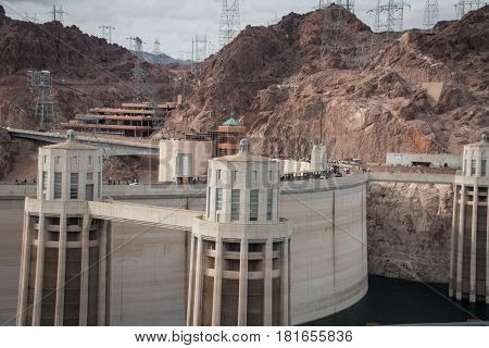 Hoover Dam, Boulder Dam Between Nevada And Arizona
