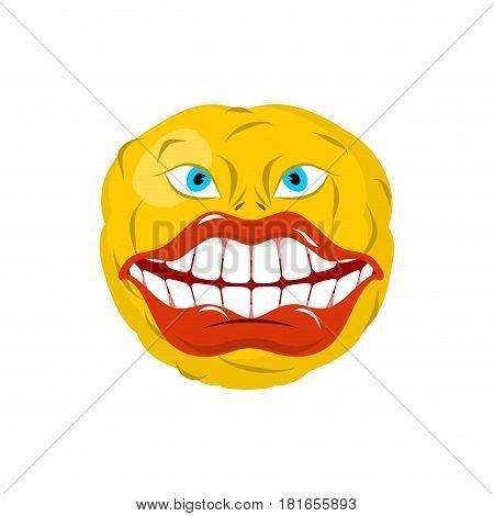 Smiling Emoticon. Crazy Emoji. Happy Is An Emotion. Yellow Ball Head