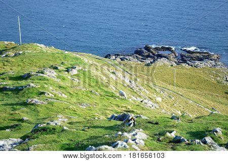 Rugged rocky coastline on Skye in Scotland.