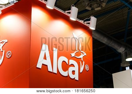 Moscow, Russia - April, 2017: Logo sign of Alcaplast company. Alca is manufacturer of sanitary ware - valves, traps, modules, grids, drains, toilet seats and other products.