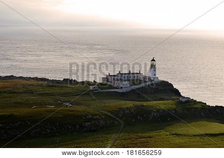 Neist Point Lighthouse on the scenic westerly point of the Inner Hebrides in Scotland.