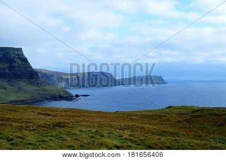 The moors on the sea cliffs of Neist Point on the Isle of Skye in Scotland.