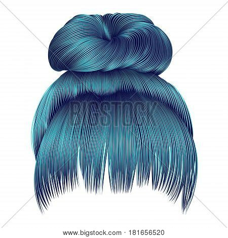 bun  hairs with fringe  blue colors . women fashion beauty style .