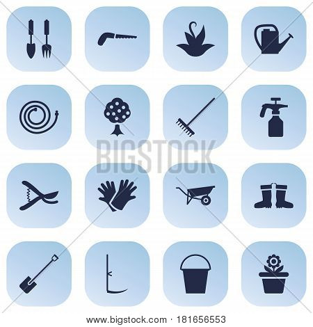 Set Of 16 Farm Icons Set.Collection Of Latex, Garden Hose, Spray Bootle And Other Elements.