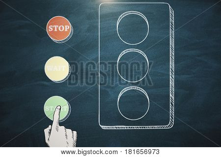 Drawing of hand pressing green go button on chalkboard background