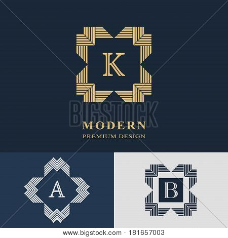 Modern logo design. Geometric linear monogram template. Letter emblem K A B. Mark of distinction. Universal business sign for brand name company business card badge. Vector illustration