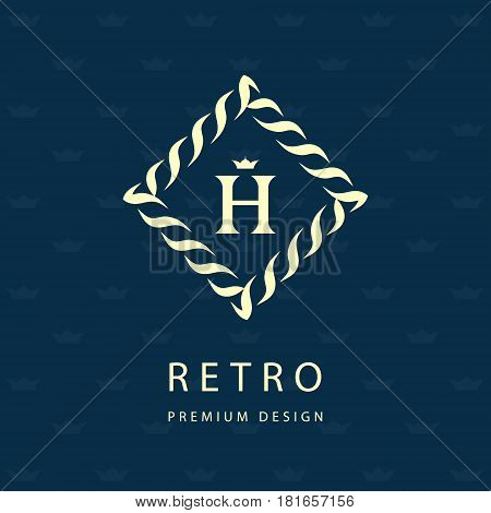 Modern logo design. Geometric monogram template. Letter emblem H. Mark of distinction. Universal business sign for brand name company business card badge. Vector illustration