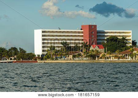 Cienfuegos, Cuba - Feb 06, 2017: View of a art deco hotel Jagua at Punta Gorda in Cienfuegos, Cuba.