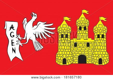 Flag of commune of Agen is the prefecture of the Lot-et-Garonne department in Nouvelle-Aquitaine in southwestern France. Vector illustration