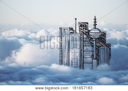 Abstract drawn city in cloudy sky. Urbanization concept