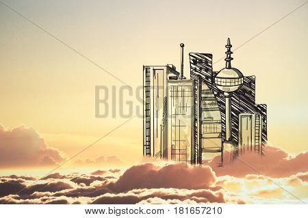 Abstract drawn city in cloudy sky with setting sun. Urbanization concept