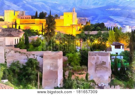 Colorful painting of Alhambra palace Granada Andalusia Spain