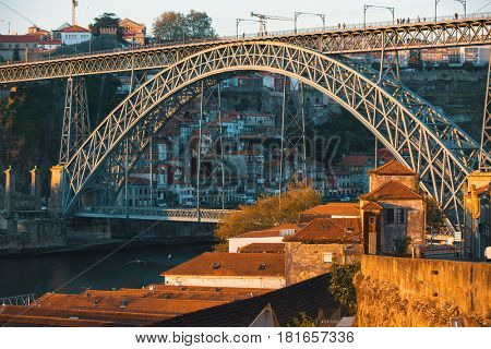 View of Douro river and Dom Luis I bridge, Porto, Portugal.