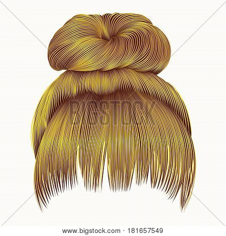 bun  hairs with fringe bright yellow colors . women fashion beauty style .