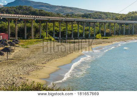 Bridge over river and seashore in Yaguanabo,Cuba.