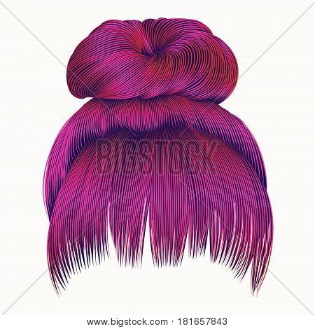 bun  hairs with fringe bright pink colors . women fashion beauty style .
