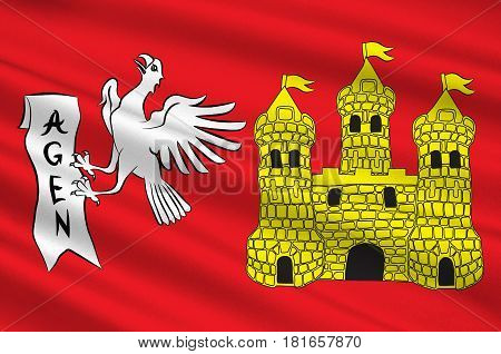 Flag of commune of Agen is the prefecture of the Lot-et-Garonne department in Nouvelle-Aquitaine in southwestern France. 3d illustration