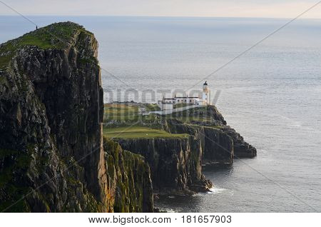 Beautiful sea cliffs at Neist Point Lighthouse ont he Isle of Skye in Scotland.