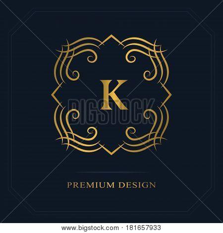 Modern logo design. Geometric initial monogram template. Letter emblem K. Mark of distinction. Universal business sign for brand name company business card badge. Vector illustration