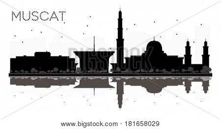 Muscat City skyline black and white silhouette with reflections. Simple flat concept for tourism presentation, banner, placard or web site. Cityscape with landmarks.