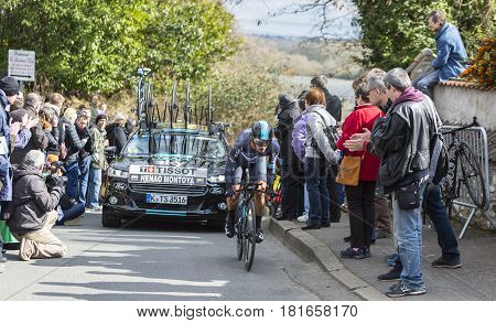 Conflans-Sainte-HonorineFrance-March 62016: The Colombian cyclist Sergio Luis Henao Montoya of Team Sky riding during the prologue stage of Paris-Nice 2016.