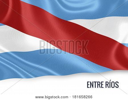 Argentinian state Entre Ríos waving on an isolated white background. State name is included below the flag. 3D rendering.