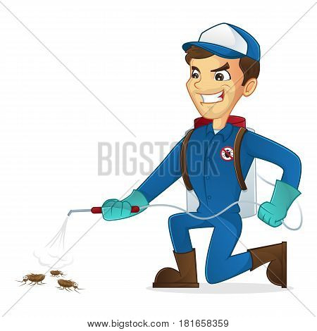 Exterminator killing bugs using pest sprayer isolated in white background