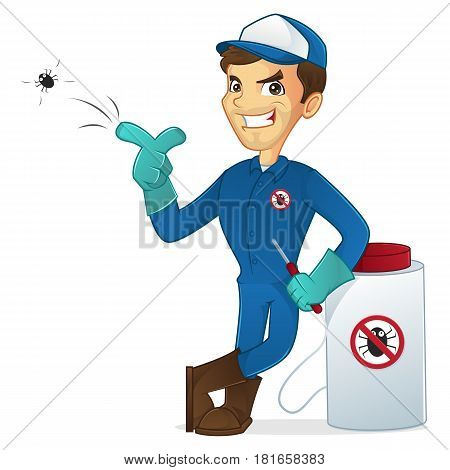 Exterminator leaning on pest sprayer and killing bug isolated in white background