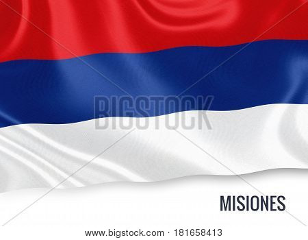 Argentinian state Misiones waving on an isolated white background. State name is included below the flag. 3D rendering.
