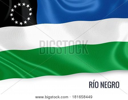 Argentinian state Río Negro waving on an isolated white background. State name is included below the flag. 3D rendering.