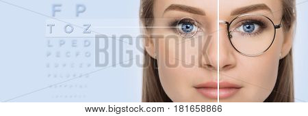 female face, cut in half to present before and after laser vision correction. Woman face with glasses and without glasses, on background virtual holographic eye chart. vision correction technology