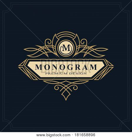 Line art Monogram luxury design graceful template. Calligraphic elegant beautiful logo. Letter emblem sign M for Royalty Restaurant Boutique Hotel Heraldic Jewelry. Vector illustration