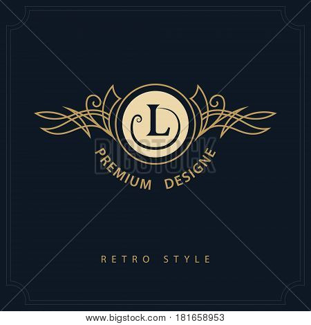Line art Monogram luxury design graceful template. Calligraphic elegant beautiful logo. Letter emblem sign L for Royalty Restaurant Boutique Hotel Heraldic Jewelry. Vector illustration