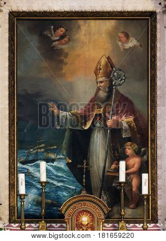 CILIPI, CROATIA - NOVEMBER 08: St. Nicholas the patron of sailors, the altarpiece in the parish church of St. Nicholas in Cilipi, Croatia, November 08, 2016.