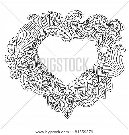 Hand drawn ornate heart for adult anti stress. Coloring page with high details isolated on white background. Zentangle pattern for relax and meditation. Heart of leaves waves and other elements