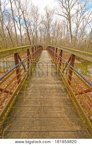 Footbridge over a Quiet River in the Cache River Natural Area in Illinois
